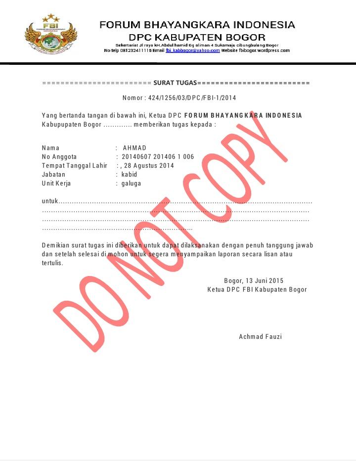 Contoh Surat Tugas Fbi Dpc Kab Bogor Biro Kominfo Fbi